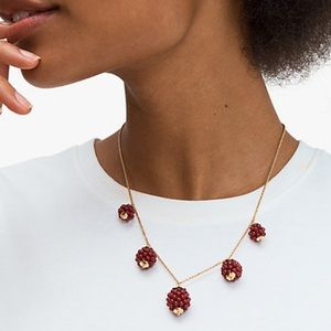 Kate Spade Very Berry Raspberry gold tone necklace NWT!